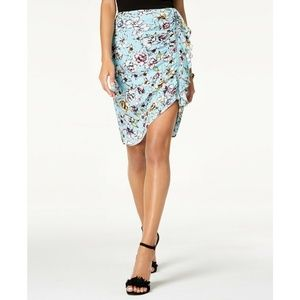 GUESS Blue Floral Dotty Ruched Ruffle Zip-Detail